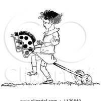 1120840-Clipart-Of-A-Retro-Vintage-Black-And-White-Girl-Playing-With-A-Hobby-Horse-Royalty-Free-Vector-Illustration